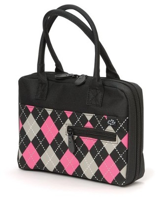 Black and Pink Argyle Bible Cover, Large   -