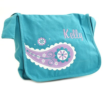 Personalized, Girls Messenger Bag, Medium, Teal   -