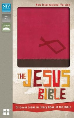NIV The Jesus Bible: Discover Jesus in Every Book of the Bible, Italian Duo-Tone, Hot Pink/Chocolate - Imperfectly Imprinted Bibles  -