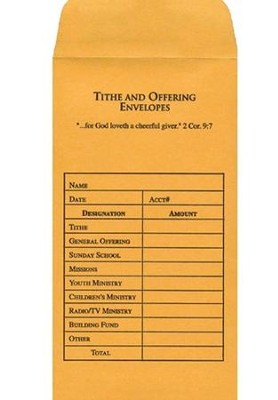 Tithe and Offering Envelopes, 100               -
