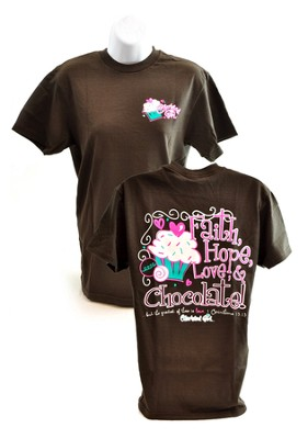 Faith, Hope, Love, Cherished Girl Style Shirt, Brown, Medium  -