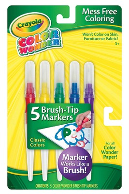 Color Wonder Brush Tip Markers, Classic Coloers, Set of 5  -