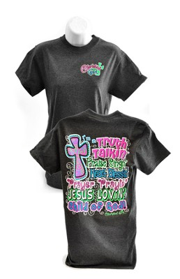 Truth Talkin, Praise Singin Shirt, Cherished Girl Style Shirt, Charcoal, XX Large  -