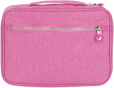 Crinkle Nylon Organizer Bible Cover, Pink, Large    -