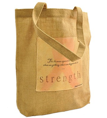 Strength, Pink Ribbon Tote Bag  -     By: Stephanie Workman Marrott