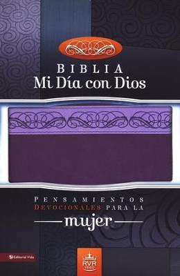 Biblia Mi Dia con Dios RVR 1960, Piel Italiana Dos Tonos Lila  (RVR 1960 My Day w/God Bible, Italian Duo-Tone Leather Lila)  -
