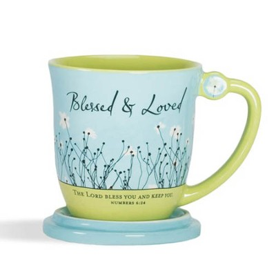 Blessed & Loved Teacup with Lid, Numbers 6:24  -