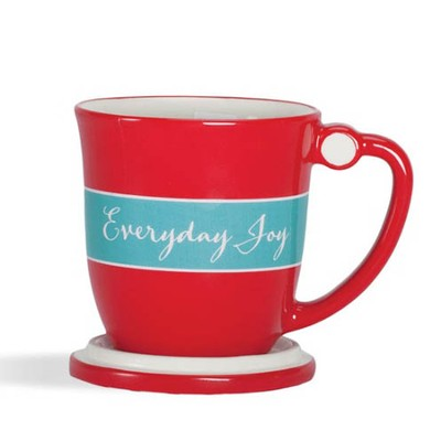 Everyday Polka Dot Teacup with Lid, Psalm 4:7  -