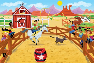 SonWest Roundup: Western Rodeo Wall Mural - 3 piece set  -