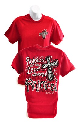 Rejoice in the Lord Always, Cherished Girl Style Shirt, Red, Medium  -