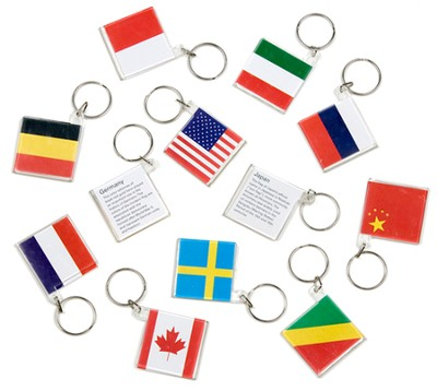 World Flag Key Chains, pack of 12  -