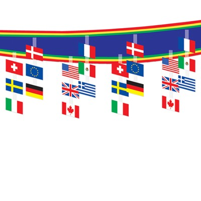 International Flag Ceiling Decor  -