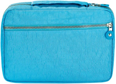 Crinkle Nylon Spine Handle Bible Cover, Blue, Large  -