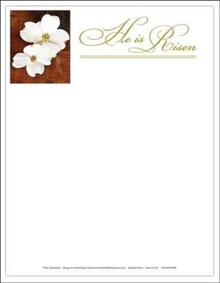 He is Risen Easter Dogwood Letterhead (Package of 50)  -