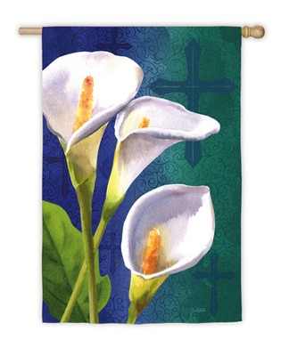 Easter Lily and Cross Flag, Large  -     By: David Sands