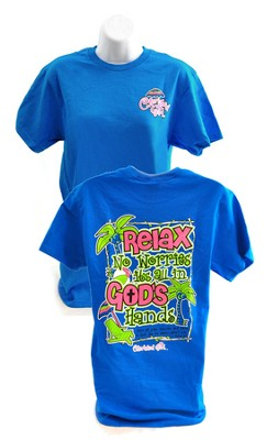 Relax, No Worries, Cherished Girl Style Shirt, Blue, Large  -