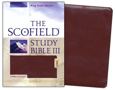 The Scofield Study Bible III, KJV, Burgundy Duradera (Imitation Leather) with Zipper  -