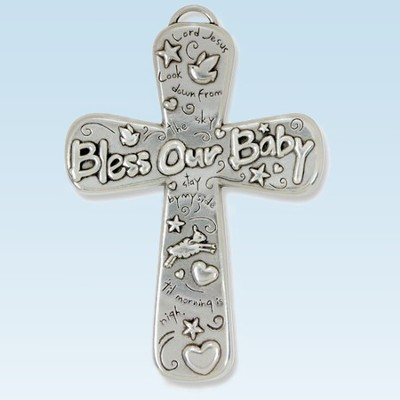 Pewter Wall Cross, Bless Our Baby  -