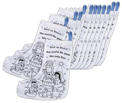 Color-Your-Own Canvas Nativity Christmas Stocking, Pk of 12   -
