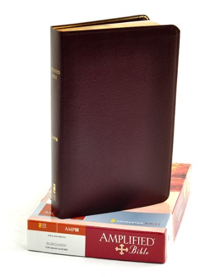 The Amplified Bible, Expanded Edition, Top-grain leather, burgundy - Imperfectly Imprinted Bibles  -