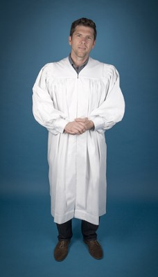 Pastor's Baptismal Robe, Regular, Large Yoke, White  -
