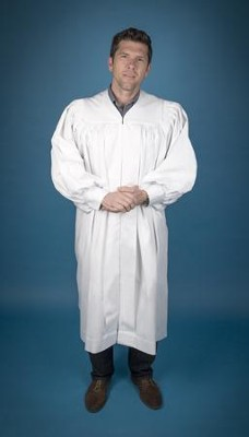 Pastor's Baptismal Robe, Tall, Large Yoke, White  -