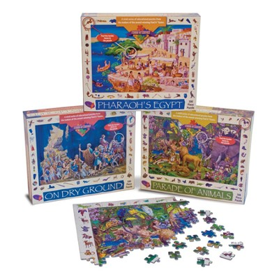 Jigsaw Puzzle Set: Pharaoh's Egypt, Parade of Animals, On Dry Ground  -