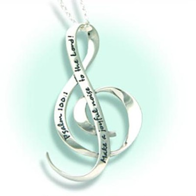 Make a Joyful Noise, Sterling Silver G-Clef Necklace   -