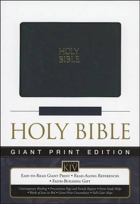 KJV Giant Print Reference Bible, Imitation Leather, black - Imperfectly Imprinted Bibles  -