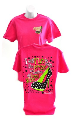 I will Run to Win the Prize, Cherished Girl Style Shirt, Pink, Large  -