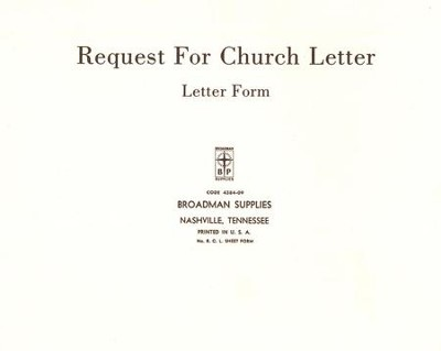 Church Letter Request Forms, RCL, 50                   -