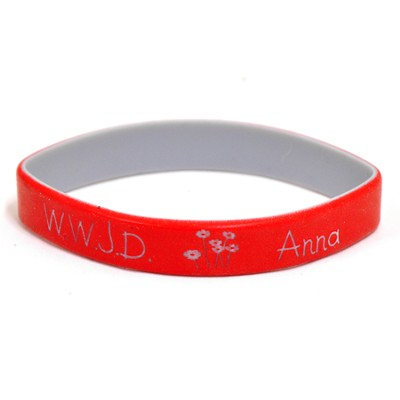 Personalized, WWJD Wristband, With Name and Flowers, Red  -