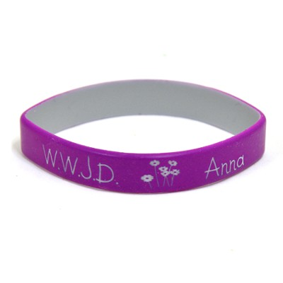 Personalized, WWJD Wristband, With Name and Flowers,  Purple  -