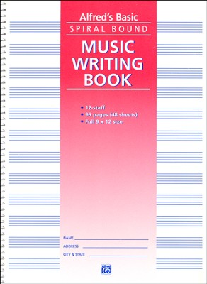 Alfred's Basic Spiral-Bound Music Writing Book, 12 Staves, 96 pages  -