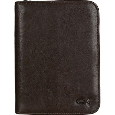 Compact Bible Cover with Ichthus, Brown  -