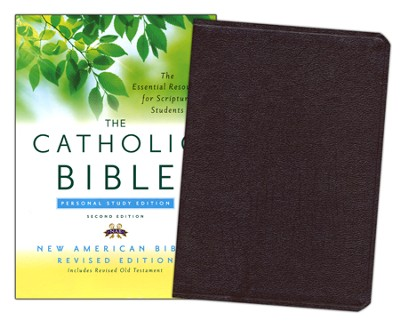 The New American Bible, Catholic Study, Personal,   Bonded Leather, Burgundy, Second Edition  -