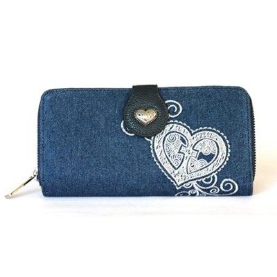 Grace Heart Denim Wallet  -