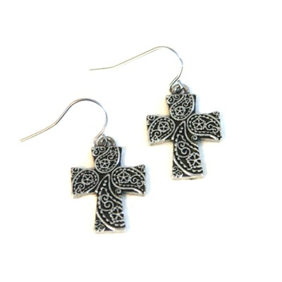 Flower Of Love Cross Earring  -