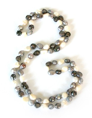 Gates of Praise Pearl Necklace, Black and White  -