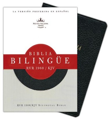 Biblia Bilingue RVR 1960-KJV, Piel Fab. Negro Ind.  (RVR 1960-KJV Bilingual Bible, Bon. Leather Black Ind.) - Imperfectly Imprinted Bibles  -