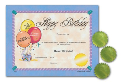 Certificates: Happy Birthday/Seals  -