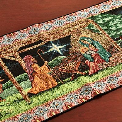 First Christmas, Tapestry Table Runner   -