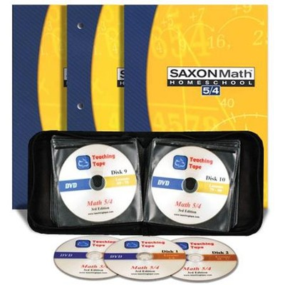 Saxon Math 5/4, 3rd Edition Home Study Kit & Teaching Tape Technology DVD Set Bundle  -