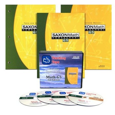 Saxon Math 6/5, 3rd Edition Home Study Kit & Teaching Tape Technology DVD Set Bundle  -