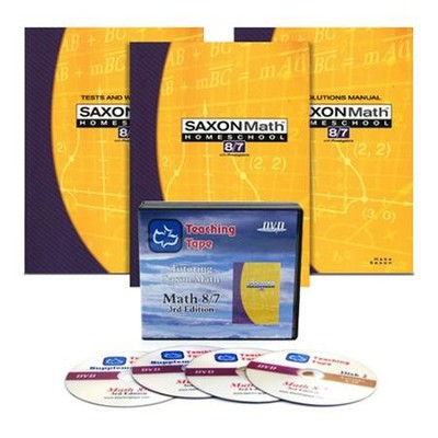 Saxon Math 8/7, 3rd Edition Home Study Kit & Teaching Tape Technology DVD Set Bundle  -