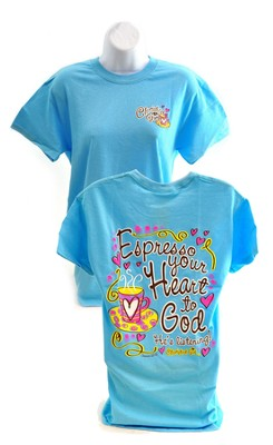 Expresso Your Heart to God, Cherished Girl Style Shirt, Blue, Small  -