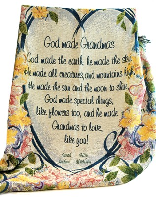 Personalized, God Made Grandmas Tapestry Throw   -