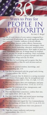 30 Ways To Pray for People In Authority Prayer Card, Pack of 50  -