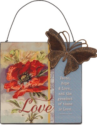 Faith, Hope, Love, Mini Plaque  -
