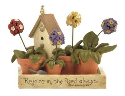 Rejoice in the Lord Flowerbox Figurine  -